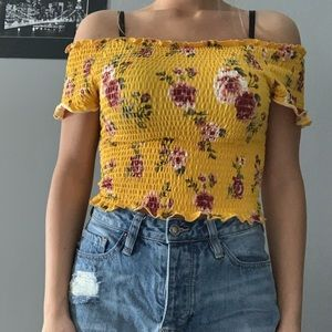 Yellow floral off the shoulder ruffle top